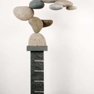 "Cantamar 9.28.07, rocks and granite pedestal, 72"" x 37.5"" x 19"""