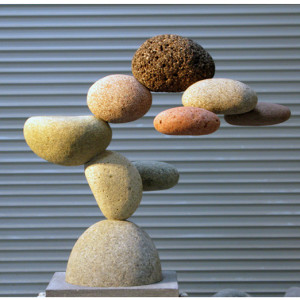 rocks and granite pedestal 23.5 x 28 x 18 inches SOLD