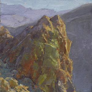 Colorful Comstock Outcrop, oil on panel, 8 x 6 inches, $1,000