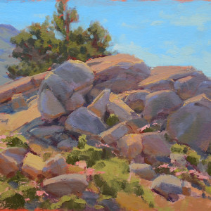 Lair of the Marmot, oil on canvas board, 10 x 12 inches, $1,500
