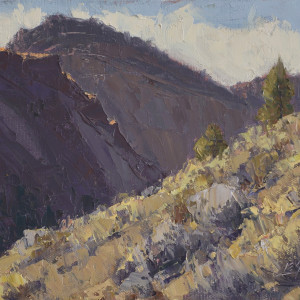 On the Sunny Side of the Canyon, oil on panel, 8 x 10 inches, $1,200