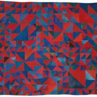 Pinwheels and Geese Red and Blue quilted fabric 50 x 55 inches $4,800