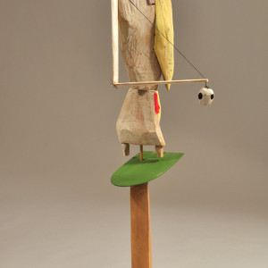 wood/mixed media 38 x 12.5 x 9 inches