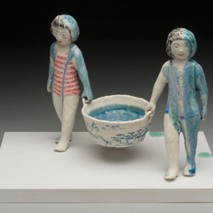 porcelain with wood base 10 x 14 x 9 inches