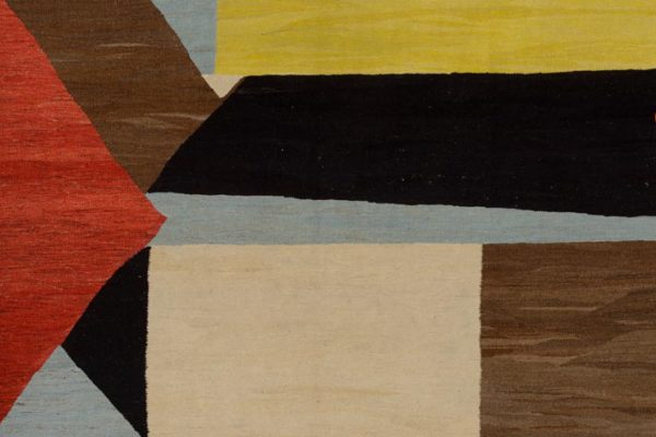 Mike Berg, Something I'm Not Big Enough to See Over, wool, cotton, linen, and goat hair, 107 x 76 inches, $9,000