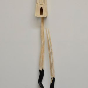 Fall From Grace, wood and paint, 73 x 15 x 6.5 inches, $8,000