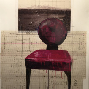 Devil Chair, mixed media on paper, 32 x 20 inches