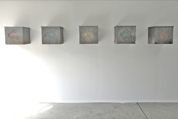 Menu, acrylic on five stretched canvases, 12.5 x 13.5 x 13.5 inches (each), $40,000