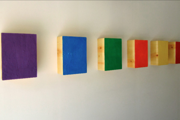 Roster, acrylic on six stretched canvases, 14.5 x 10.5 x 5.5 inches (each), $40,000