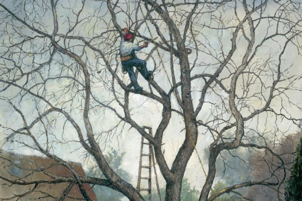 Tree Service, oil on linen, 44 x 36 inches, $12,000