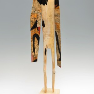 Robert Brady, Warrior I, wood, rice paper, paint, and ink