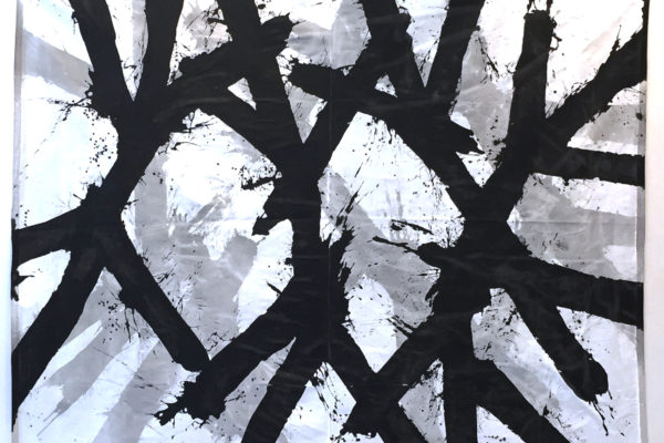 Drum, acrylic and ink on drop cloth, 9 x 12 feet, $25,000