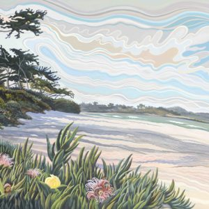 Phyllis Shafer, Carmel Beach, gouache on paper, 16 x 22.5 inches, SOLD