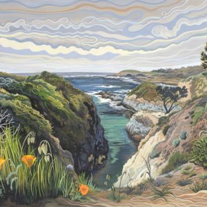 Phyllis Shafer, China Cove, Point Lobos, gouache on paper, 16.5 x 22.5 inches, SOLD