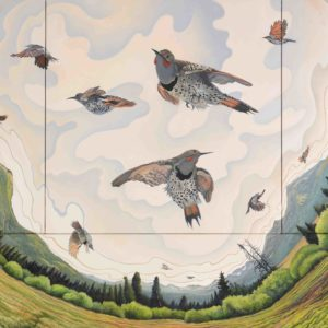 Phyllis Shafer, Flicker's Ascent, oil on four canvases, 28.25 x 36 inches, SOLD
