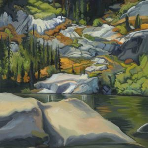 Phyllis Shafer, Glaciated Lake, oil on linen, mounted on board, 12 x 9 inches, SOLD