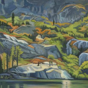 Phyllis Shafer, Granite Cliffs,  oil on linen, mounted on board, 9 x 12 inches, SOLD