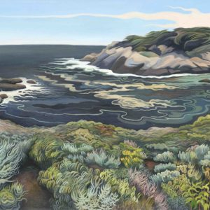 Phyllis Shafer, Headland Cove, Point Lobos, oil on linen, 18 x 46 inches, SOLD