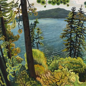 Phyllis Shafer, Magical Moment at Fallen Leaf Lake,  gouache on paper, 17.5 x 22.5 inches, SOLD