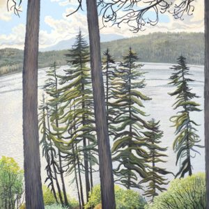 Phyllis Shafer, Storm Over Fallen Leaf Lake,  gouache on paper, 22.5 x 17 inches, SOLD