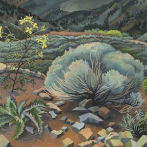 Phyllis Shafer, Virginia City Garden, oil on linen, mounted on board, 16 x 20 inches, SOLD