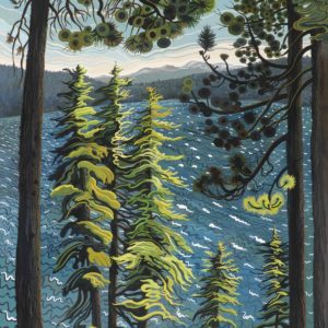 Phyllis Shafer, Windy Day at Fallen Leaf Lake, gouache, 22.5 x 16 inches, SOLD