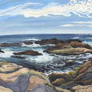 Phyllis Shafer, Whaler's Cove, Point Lobos, gouache on paper, 13 x 22.5 inches, SOLD