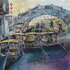 Salminen, John_Water Taxis_watercolor_24.5 x 25.5 inches