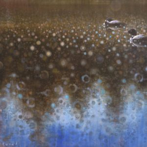 Ewoud de Groot, Loons in Tree Reflection, oil on linen, 51 x 51 inches